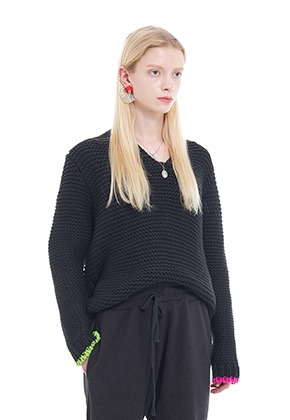 Vuiel뷔엘 VUIEL_CHUNKY_KNIT_JUMPER - BLACK