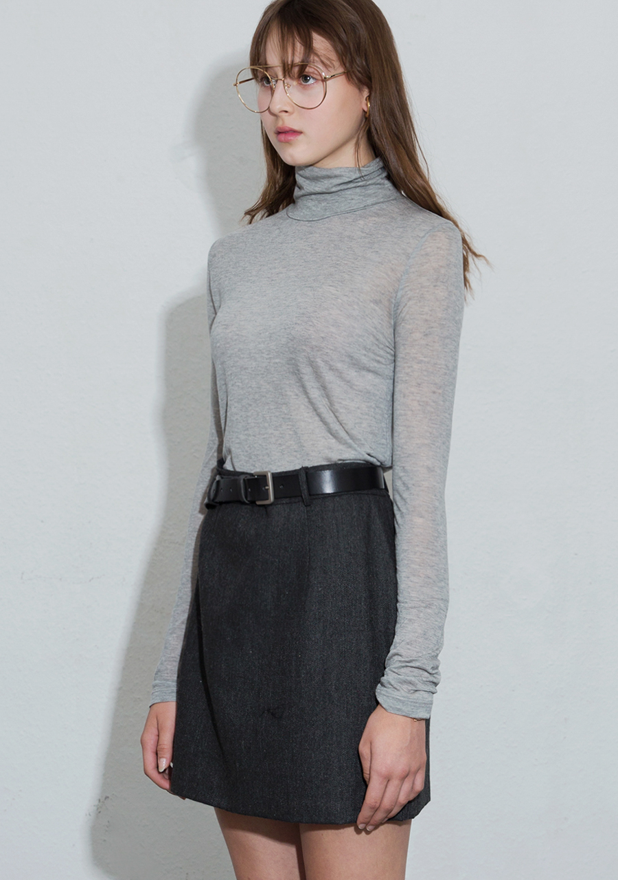 More or Less모어올레스 SOFT WOOL TURTLENECK TOP - MELANGE GREY