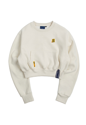 Romantic Crown로맨틱크라운 Pocket Crop Sweat Shirt_Oatmeal