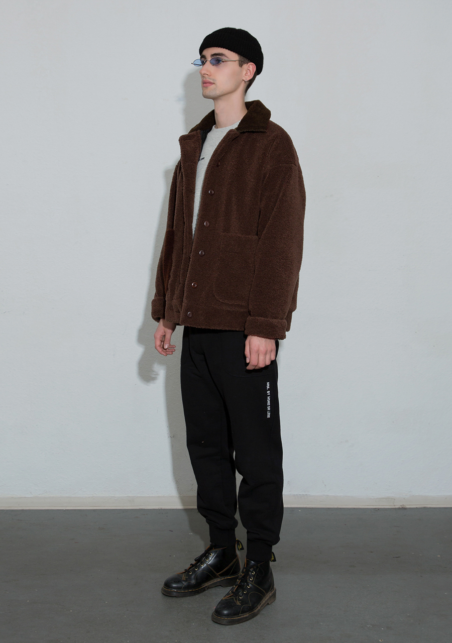 More or Less모어올레스 (UNISEX) TEDDYBEAR BOUCLE JUMPER - BROWN