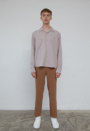 Muguet뮤게 PIPING POINT SHIRTS (BEIGE / DARK GRAY)