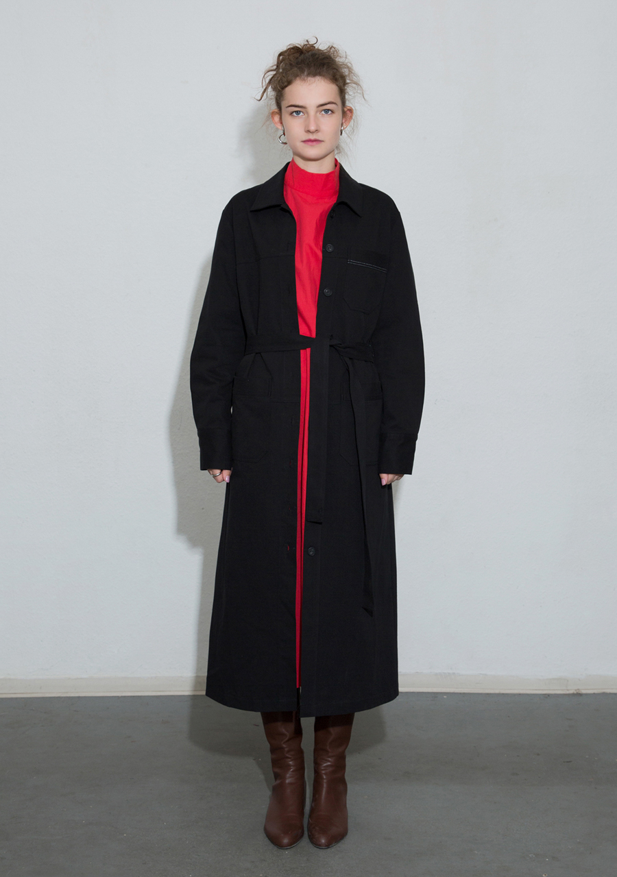 More or Less모어올레스 COTTON TRENCH DRESS - BLACK