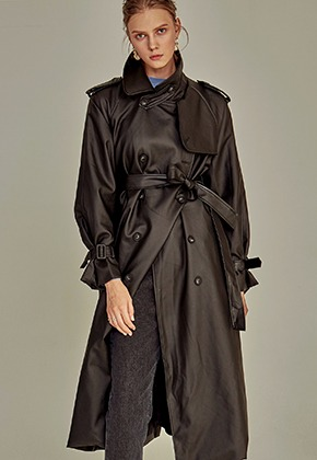 Yan13얀써틴 LEATHER DOUBLE TRENCH COAT_BLACK