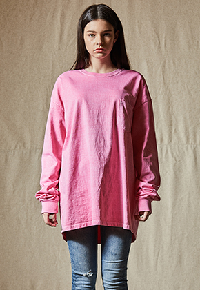 INDIGO CHILDREN인디고칠드런 PIGMENT DYED POCKET LONG SLEEVE [PINK]