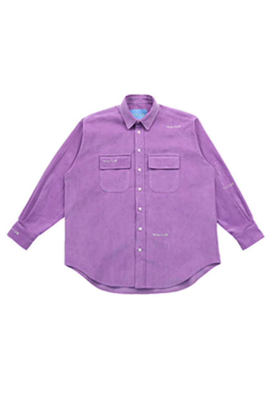 AJO BY AJO FINK LABEL Logo Embroidery Corduroy Shirt [Lilac]