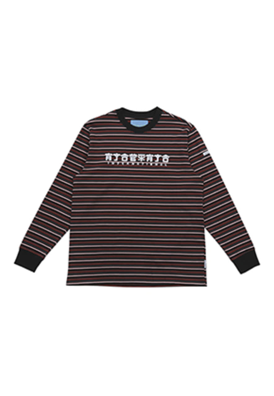 AJO BY AJO FINK LABEL CH Logo Stripe T-Shirt [Black]