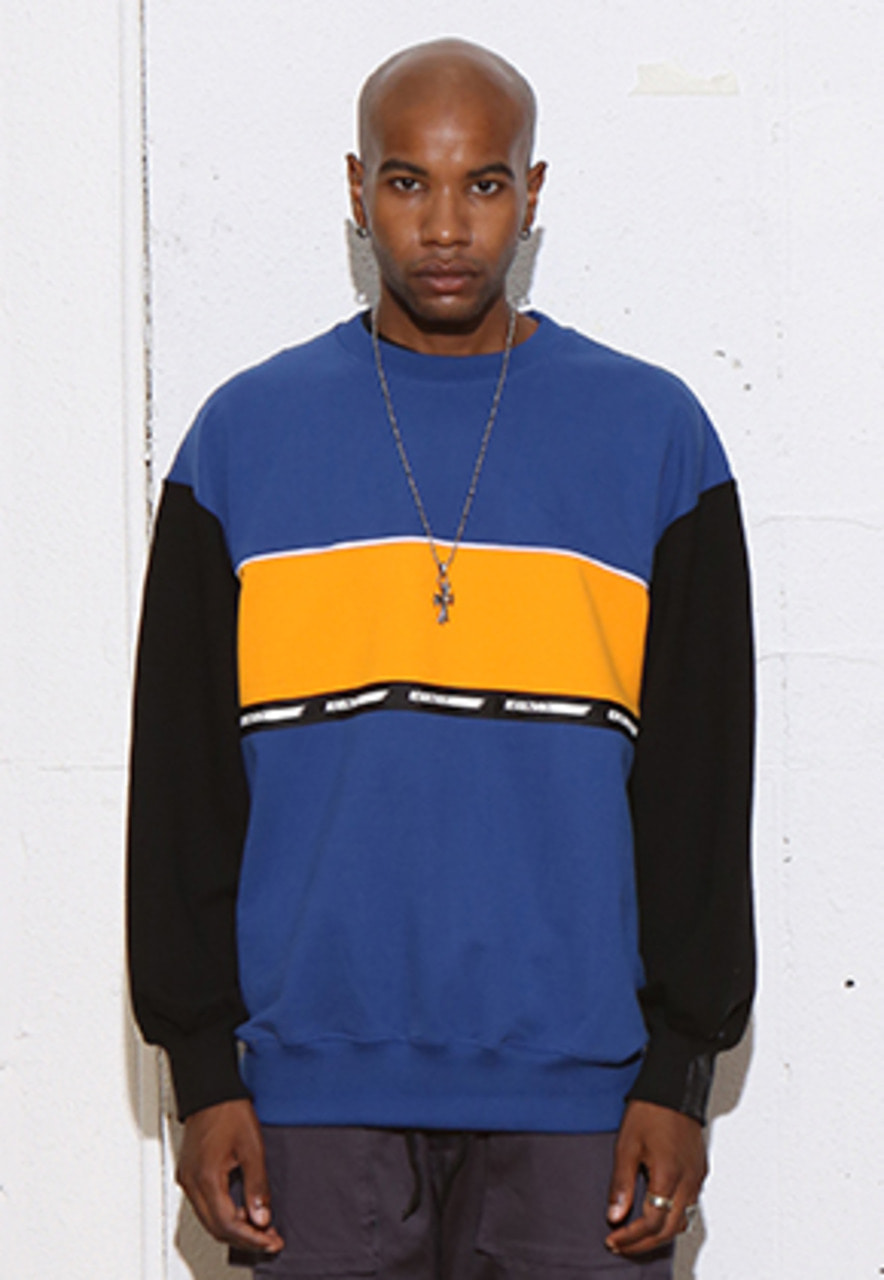 RDVZ COLOR BLOCK SWEAT TOP DARKBLUE
