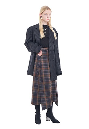 Vuiel뷔엘 LONG_UNBALANCED_PLAID_SKIRT - BROWN