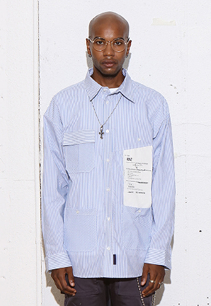 RDVZ BIG LABEL POCKET SHIRTS SKYBLUE