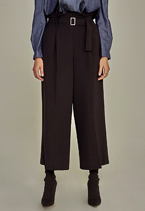 Yan13얀써틴 FLAT WIDE SLACKS_BLACK