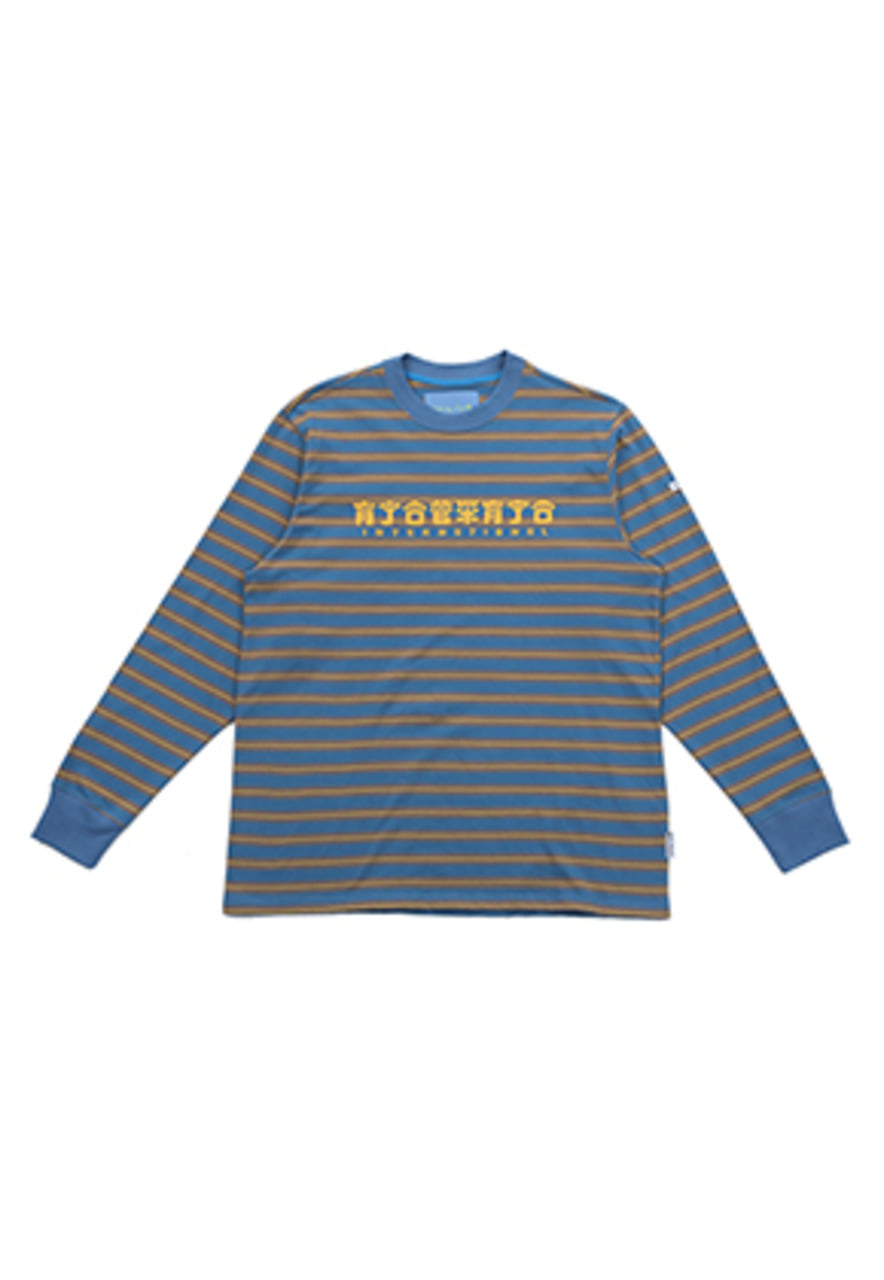 AJO BY AJO FINK LABEL CH Logo Stripe T-Shirt [Blue]