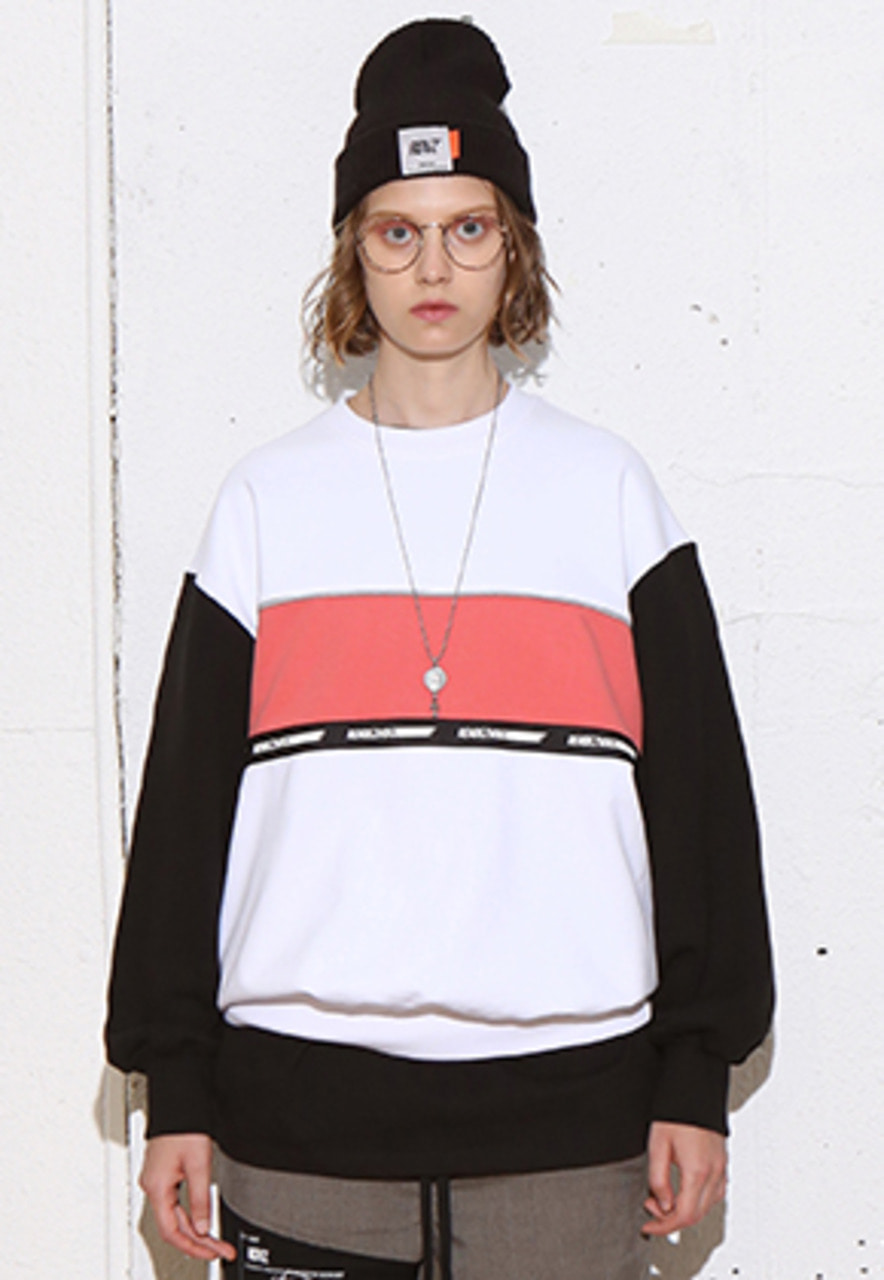 RDVZ COLOR BLOCK SWEAT TOP WHITE