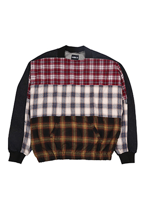 Tri Check Denim Top [Black][10월19일 예약배송]