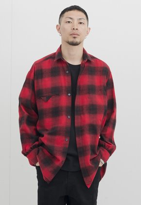 Gakuro가쿠로 Shirring Shirt (Red Ombre Check)