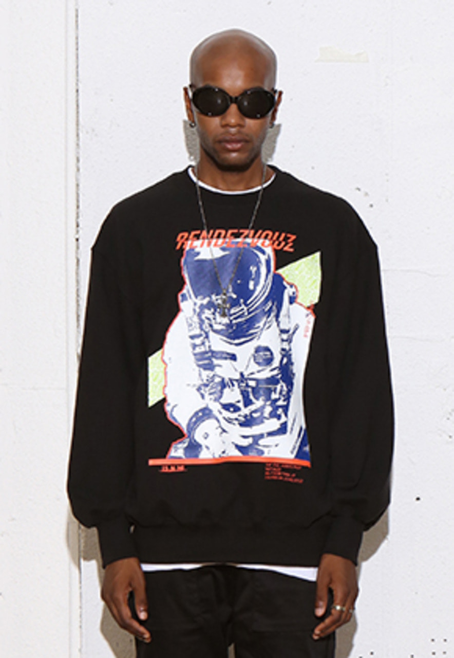 RDVZ SPACE MAN SWEAT TOP BLACK