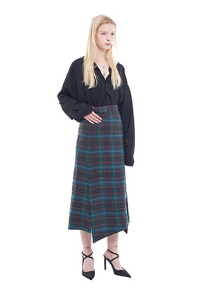 Vuiel뷔엘 LONG_UNBALANCED_PLAID_SKIRT - GREEN