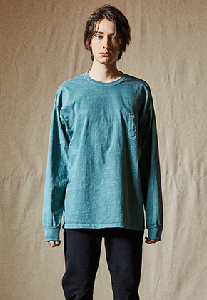 INDIGO CHILDREN인디고칠드런 PIGMENT DYED POCKET LONG SLEEVE [BLUE GREEN]