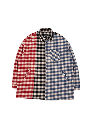 Tri Gingham Check Shirt [Red / Black / Blue]