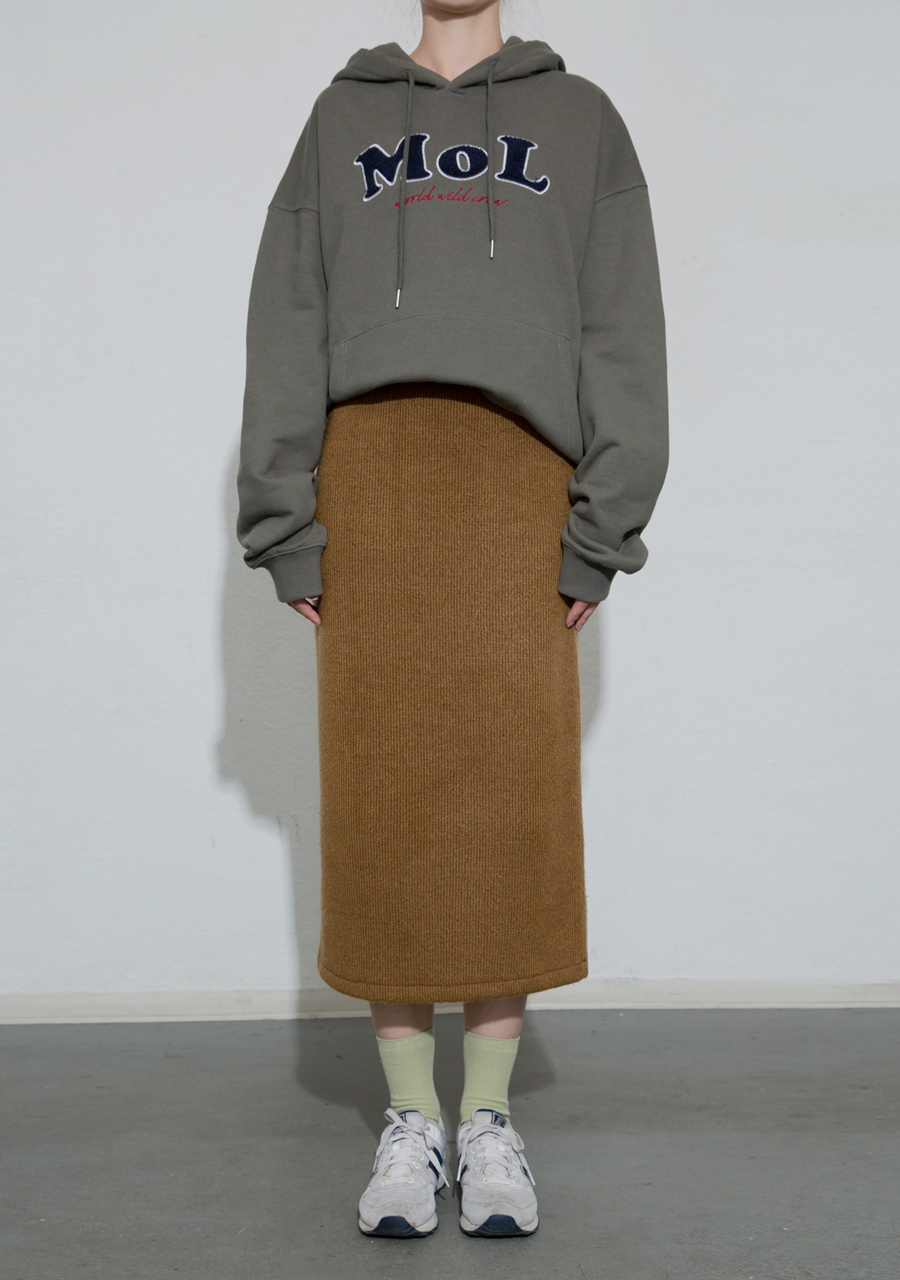 More or Less모어올레스 LONG KNIT SKIRT - OLIVE GREEN