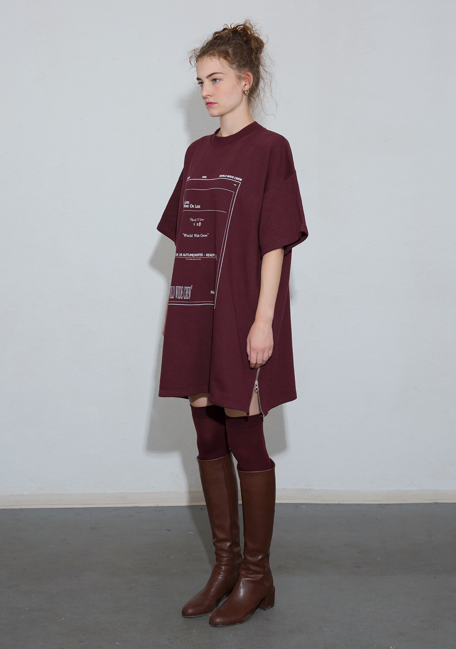 More or Less모어올레스 ZIPPER DETAIL COTTON DRESS - WINE