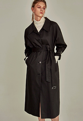 Yan13얀써틴 MAC SINGLE TRENCH COAT_BLACK