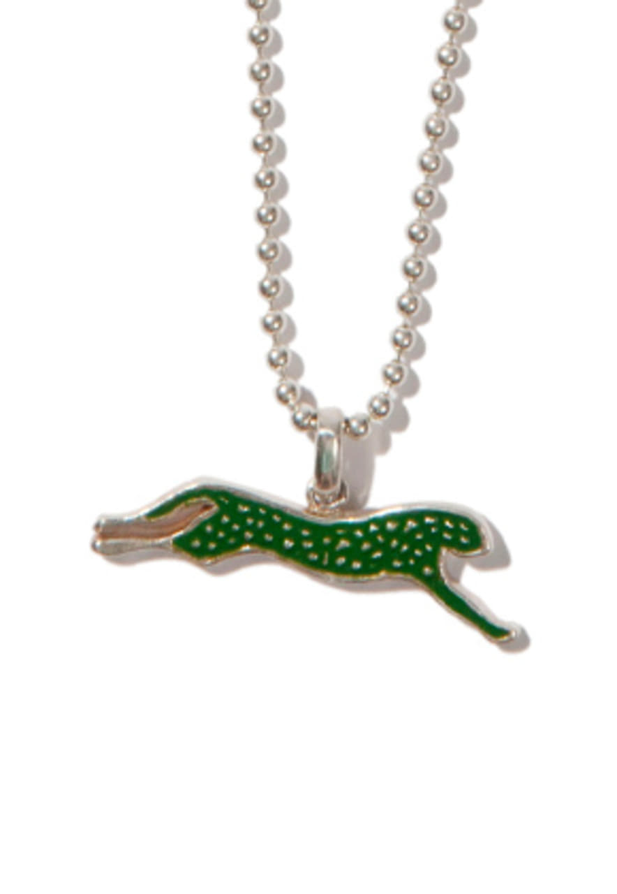 Kruchi크루치 Cheetah necklace (silver,green)