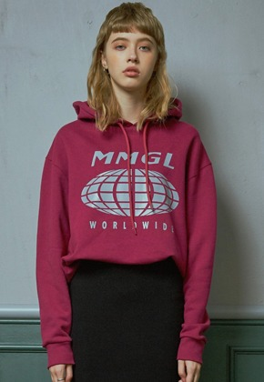 MMGL미니멀가먼츠랩 Worldwide overfit hooded sweatshirt (Purple-wine)