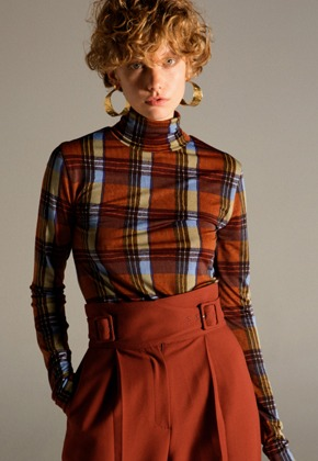 Anderssonbell앤더슨벨 TINA FITTED LONG-SLEEVE TURTLENECK T-SHIRT atb242w(BROWN CHECK)