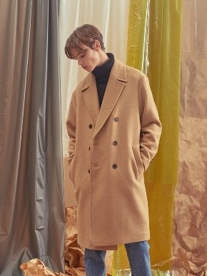 A.GLOWW에이글로우 [UNISEX] BASIC WOOL DOUBLE COAT BEIGE