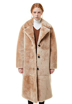 Yan13얀써틴 BEAR FUR LONG COAT MUSTANG_BEIGE