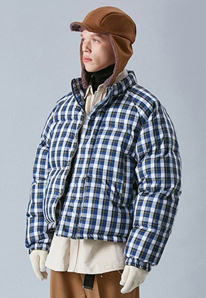 Voiebit브아빗 V638 DUCK DOWN HEAVY OVERSIZE CHECK PADDING JUMPER  BLUE