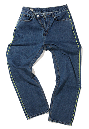 Gongbaek공백 공백 Neon Side Line Loose Fit Denim