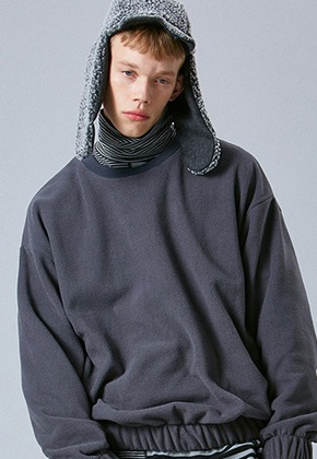 Voiebit브아빗 V343 FLEECE BANDDING SWEATSHIRT CHARCOAL