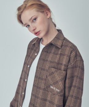 Trip LE Sens트립르센스 OVER FIT HERRING CHECK SHIRTS BROWN