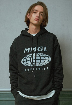 MMGL미니멀가먼츠랩 Worldwide overfit hooded sweatshirt (Black)