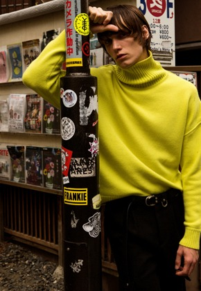 Anderssonbell앤더슨벨 UNISEX CASHMERE TURTLE NECK SWEATER atb250u(Lime)