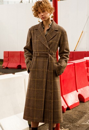 Anderssonbell앤더슨벨 HAYDEN LONG BELTED COAT awa176w(Brown Check)