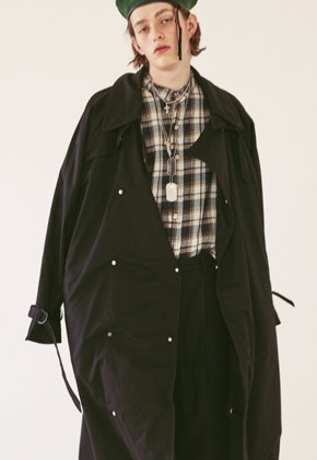Ooparts오파츠 OPT18FWJK02BK Over-sized Military Coat Black