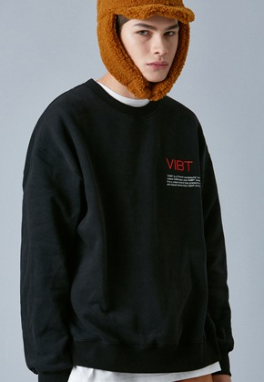 Voiebit브아빗 V347 SLOGAN OVER-FIT SWEATSHIRT  BLACK