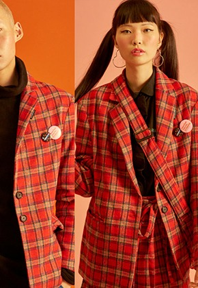 NEONMOON네온문 NEONMOON CHECK JACKET - RED