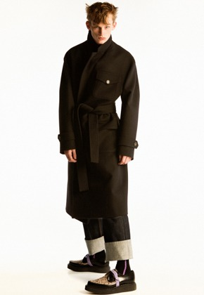 Anderssonbell앤더슨벨 UNISEX FRANCES MILITARY ROBE COAT awa179u(Black)