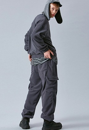 Voiebit브아빗 V254 FLEECE CARGO WINDE PANTS  CHARCOAL