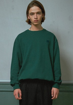 MMGL미니멀가먼츠랩 Wappen semi-oversized sweatshirt (Dark green)