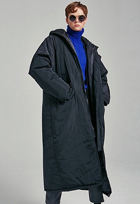 Yan13얀써틴 OVERFIT LONG PADDING COAT_BLACK