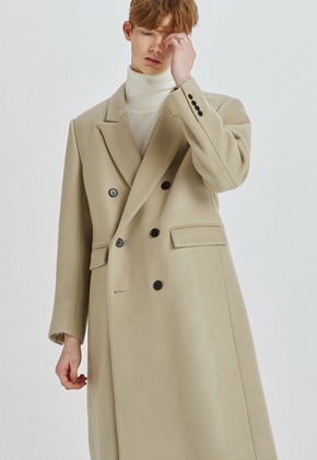 Haleine알렌느 LIGHTBEIGE wool clasic long doublebleast coat(HJ028)