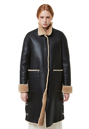 Yan13얀써틴 FUR COLLAR LONG MUSTANG_BLACK&BEIGE