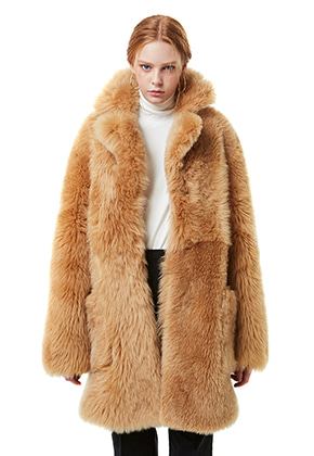 Yan13얀써틴 BEAR FUR HALF COAT MUSTANG_BEIGE