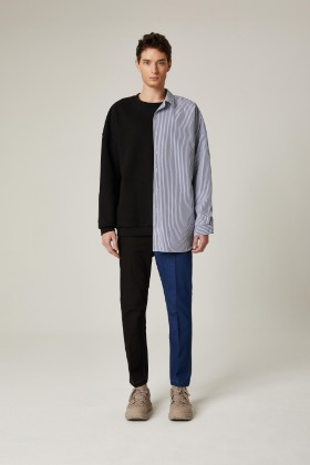 PIANARI피어나리 Stripe Shirt Sweat Shirt