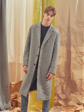 A.GLOWW에이글로우 [UNISEX] CHECK WOOL SINGLE COAT_GREY