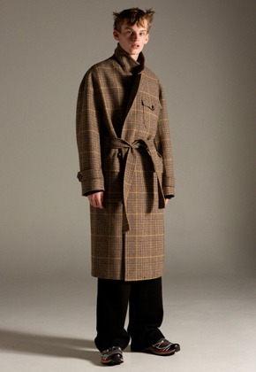 Anderssonbell앤더슨벨 UNISEX FRANCES MILITARY ROBE COAT awa179u(BROWN CHECK)